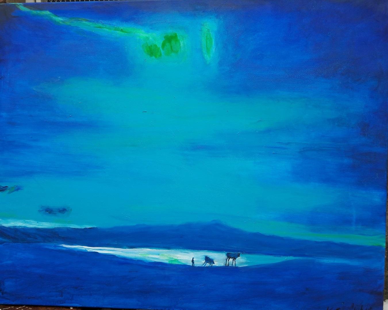Blaue Landsschaft mit Polarlicht