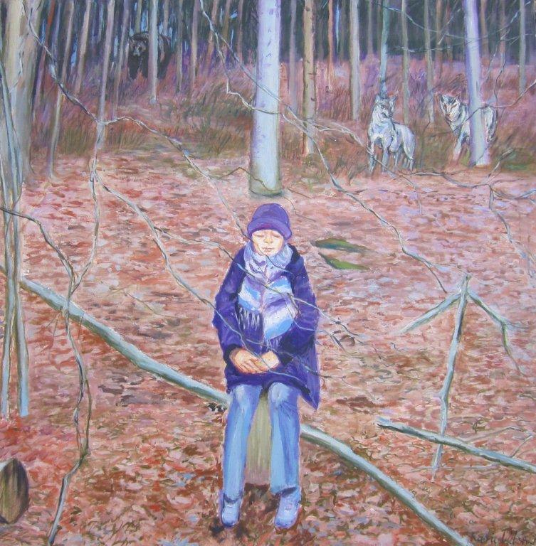Blaukäppchen allein im Wald