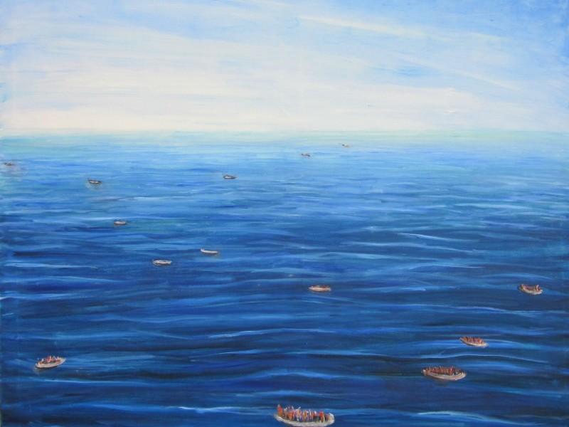 Viele Boote kommen über das Meer